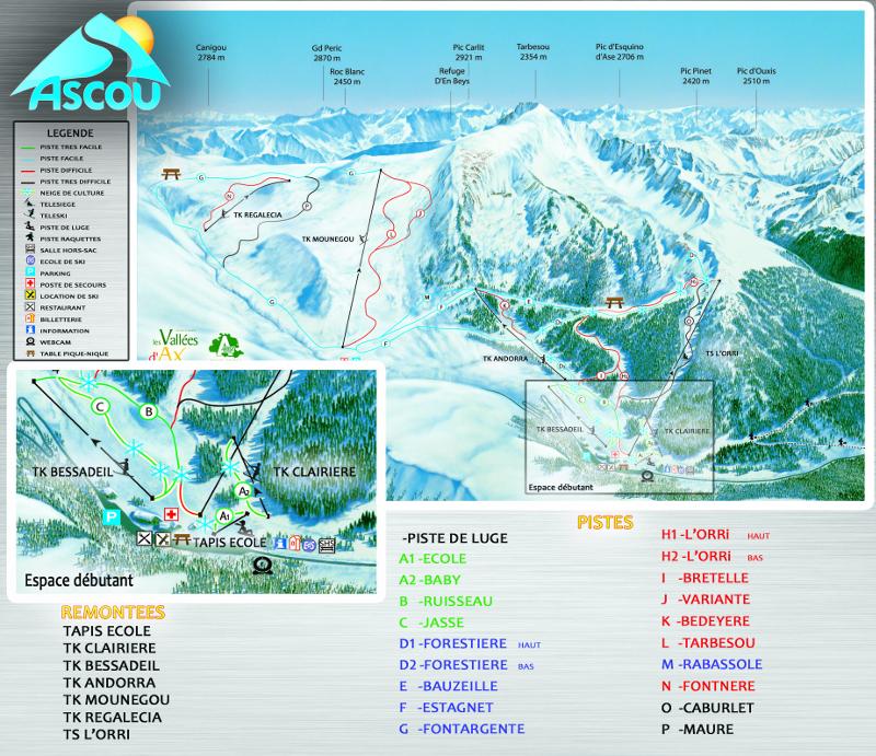 Plan des pistes de Ascou-Pailhères