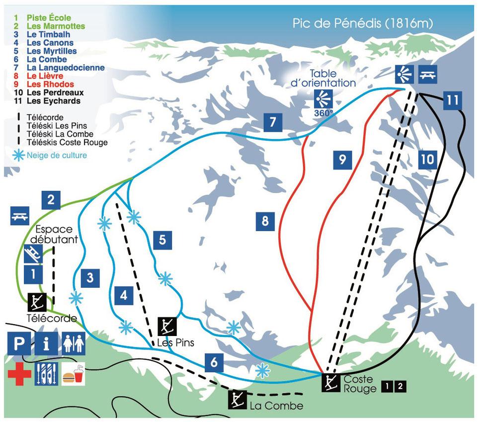 Plan des pistes de ski de Camurac
