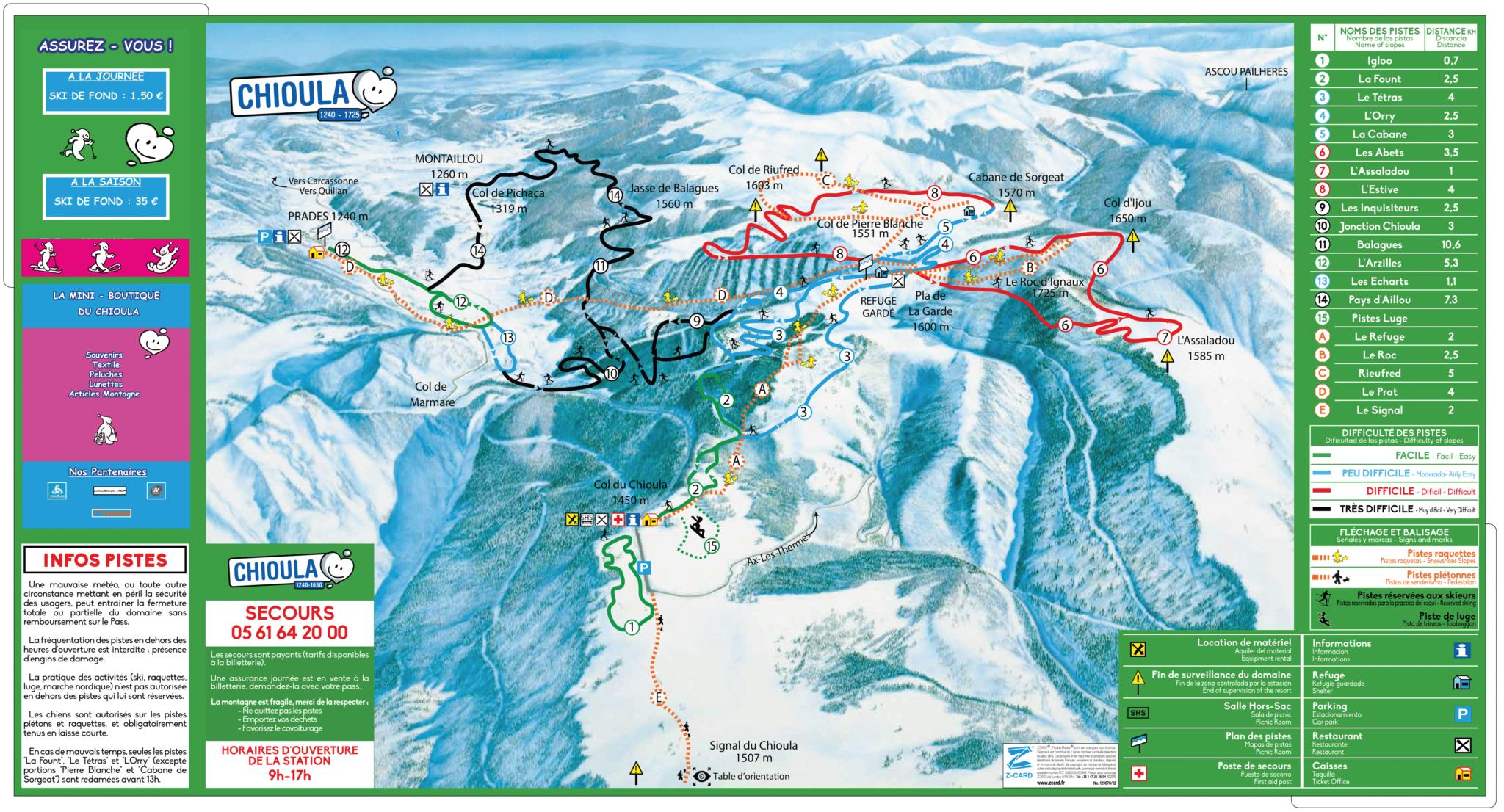 Plan des pistes de la station du Chioula
